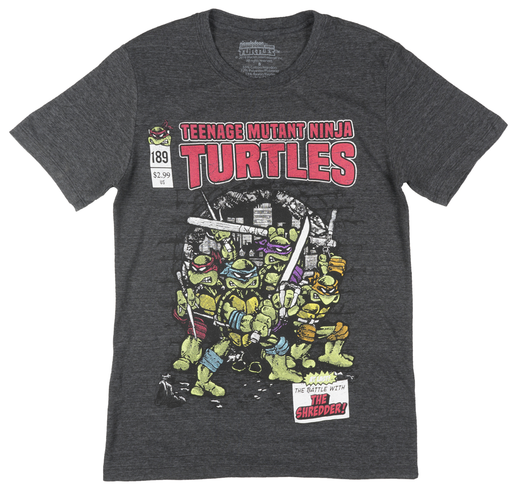 Teenage Mutant Ninja Turtles The Shredder Comic Book T-Shirt TMNT Mens Charcoal