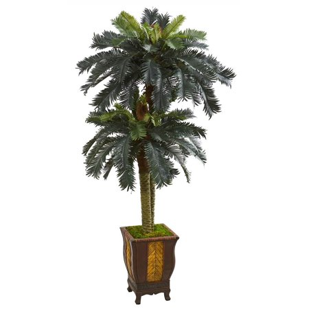 Image of Nearly Natural artificial indoor 6' Double Sago Palm Artificial Tree in Designer Planter