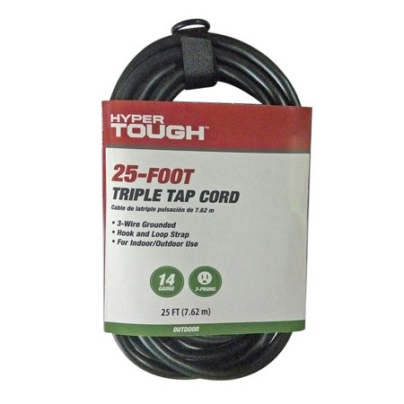 Hyper Tough 25ft SJTW 14/3 Triple Tap Black Outdoor Extension Cord ...