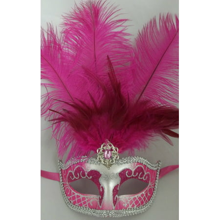 Hot Pink Silver Venetian Mask Feather Masquerade Mardi Gras 12