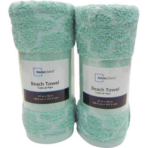 Mainstays Cotton/Poly Blended Tile Beach 2-Piece Towel Set, Teal Cream