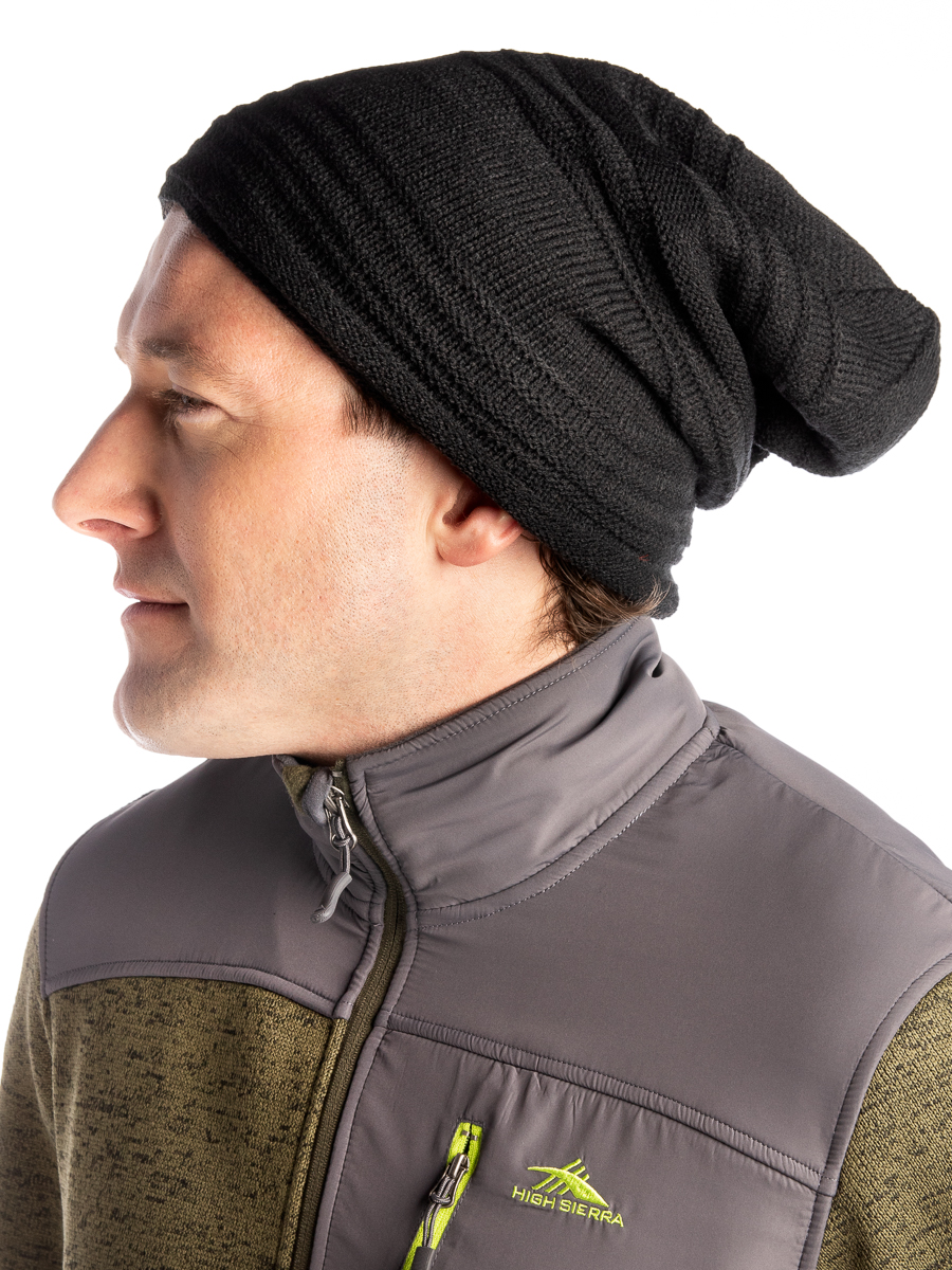 Pixnor Slouchy Winter Hats Knitted Beanie Caps Soft Warm Ski Hat Dark Red