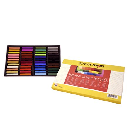 School Smart Square Chalk Pastels, Assorted Colors, Set of