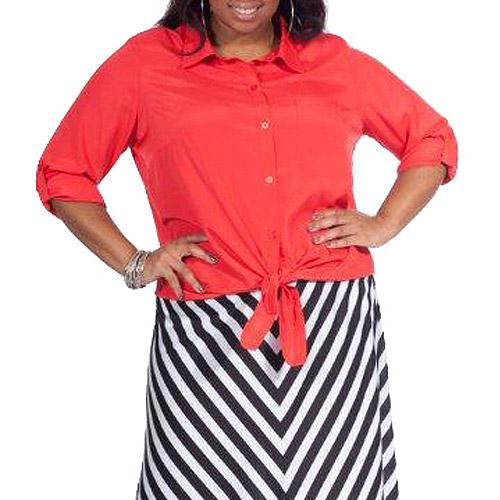 Plus Moda Women's Plus-Size Tie-Front Woven Shirt