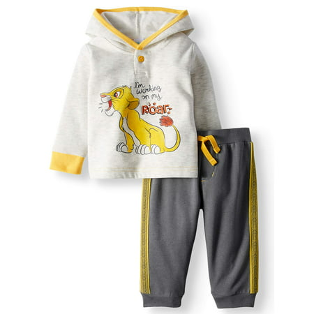 Lion King Long Pullover Hoodie Top & Jogger Pants, 2pc Outfit Set (Baby Boys) (Burger King Halloween Outfit)