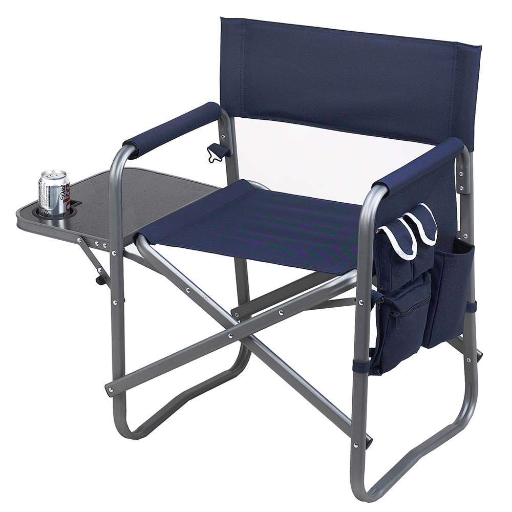 Deluxe Sports Chair with Side Table in Navy (Navy Blue)