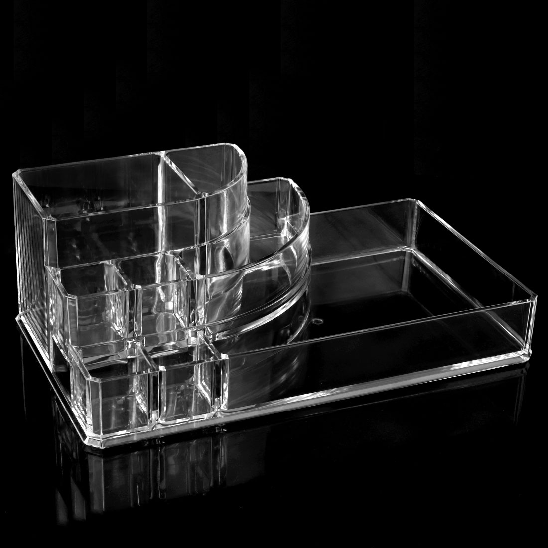 Unique Bargains Large Clear Acrylic Cosmetic & Makeup Palette Organizer Drawers Brush Holder Case Display Box