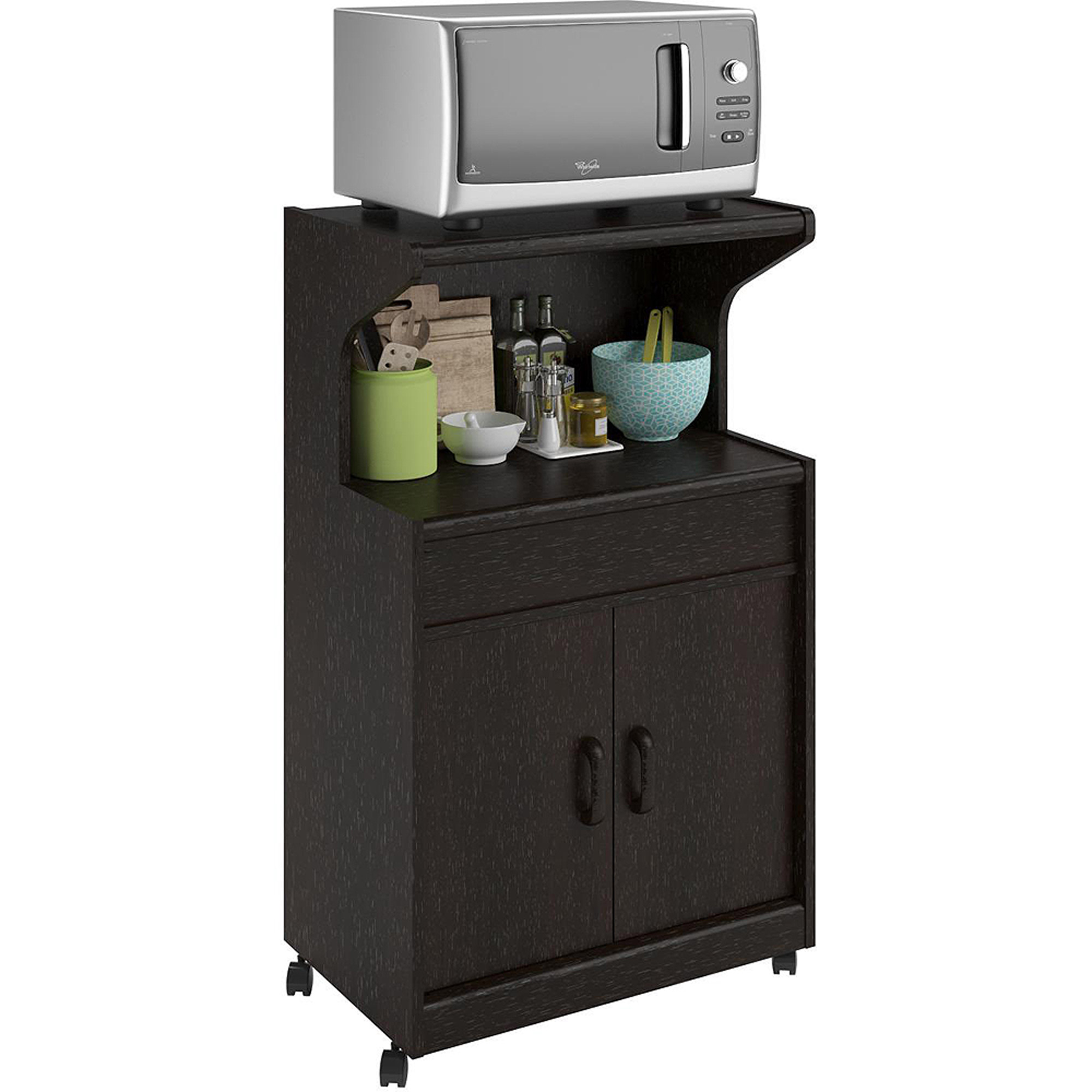 Rolling Microwave Cart Shelf Kitchen Storage Cabinet Island Stand Espresso  NEW