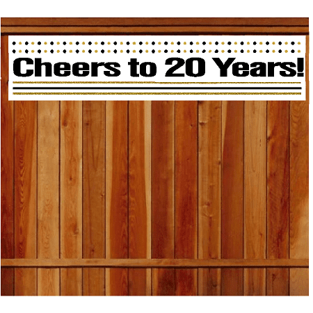 Item#020CIB 20th Birthday / Anniversary Cheers Wall Decoration Indoor / OutDoor Party Banner (10 x 50inches) - Cheers Banner