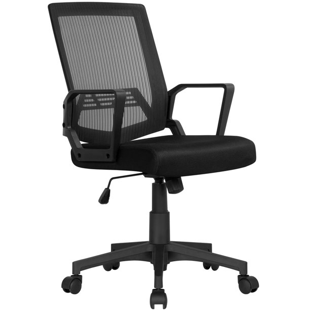 Easyfashion Mid-Back Mesh Office Chair Ergonomic Computer Chair, Black