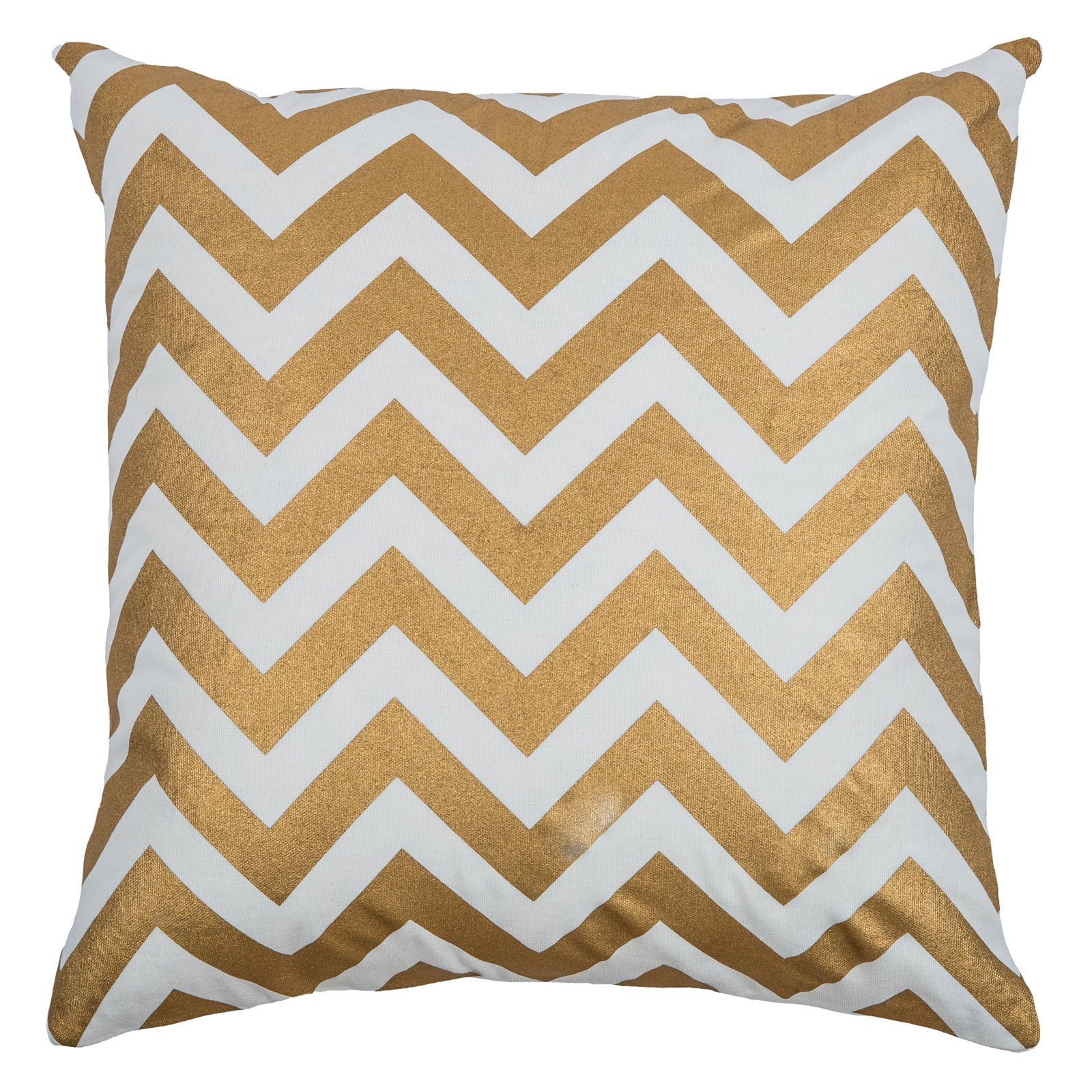 "Rizzy Home Decorative Poly Filled Throw Pillow Chevron 18""X18"" Silver"