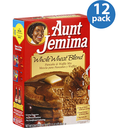 Aunt Jemima Whole Wheat Blend Pancake & Waffle Mix, 35 oz, (Pack of 12)