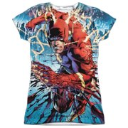 Jla - Ripping And Tearing (Front/Back Print) - Juniors Cap Sleeve Shirt - XX-Large