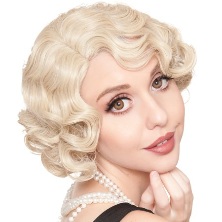 Finger Wave Wig (Rockstar Wigs LLC Blonde Finger Wave Flapper Wig Halloween Costume Accessory for Adults, One)
