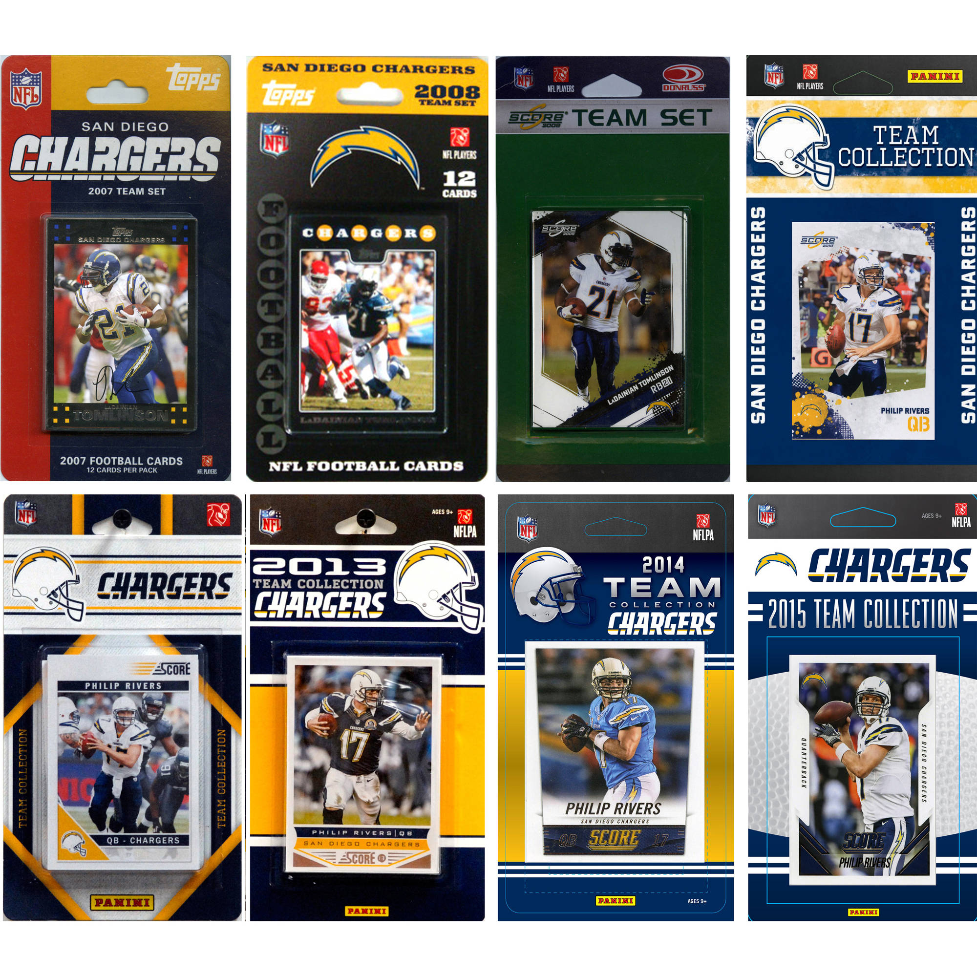 C&I Collectables NFL San Diego Chargers 8 Different Licensed Trading Card Team Sets