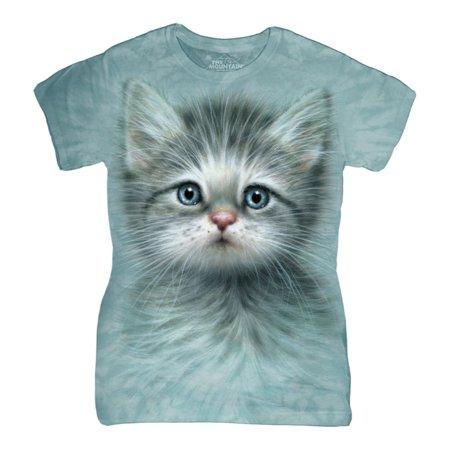 The Mountain Blue Cotton Blue Eyed Kitten Design Novelty Womens T Shirt New