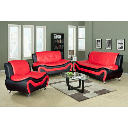- 3 Piece Faux Leather Contemporary Living Room Sofa, Love Seat, Chair Set, Black/Red