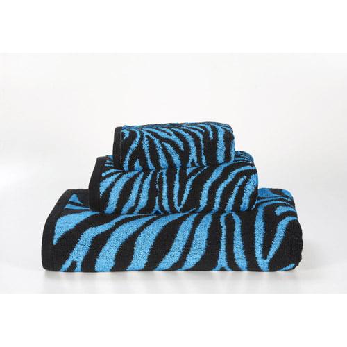 Zebra 3 Piece Jacquard Towel Set, Aqua/Black