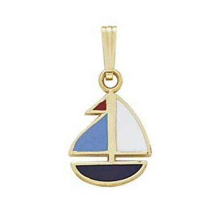 14k Yellow Gold Enamel Sailboat Pendant - .9 Grams 14k Gold Sailboat Pendant