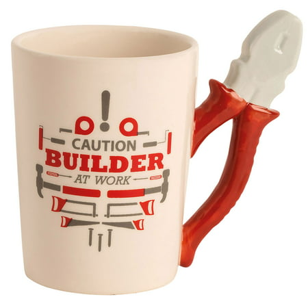 "Ceramic Handyman Tool Mug - ""Caution Builder At Work""- Pliers - Great Father's Day Gift"