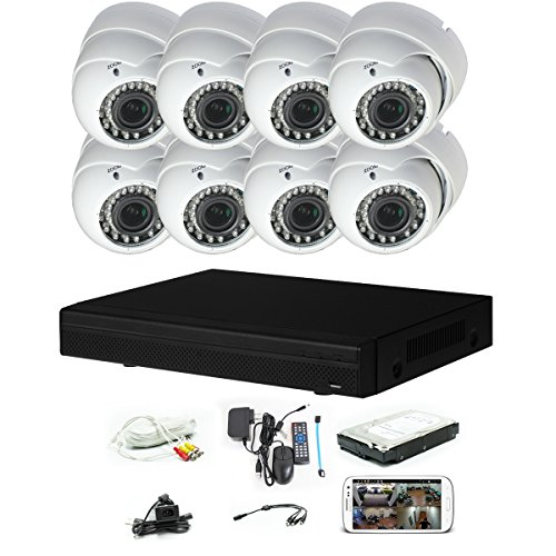 iPower Security SCCVIC0006-1T 8 Channel HD-CVI HDCVI 1080P DVR Security Surveillance System with 8 Dome Vari-Focal Lens