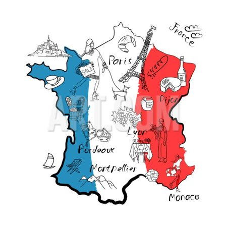 - Stylized Map of France. Things that Different Regions in France are Famous For. Print Wall Art By Alisa Foytik