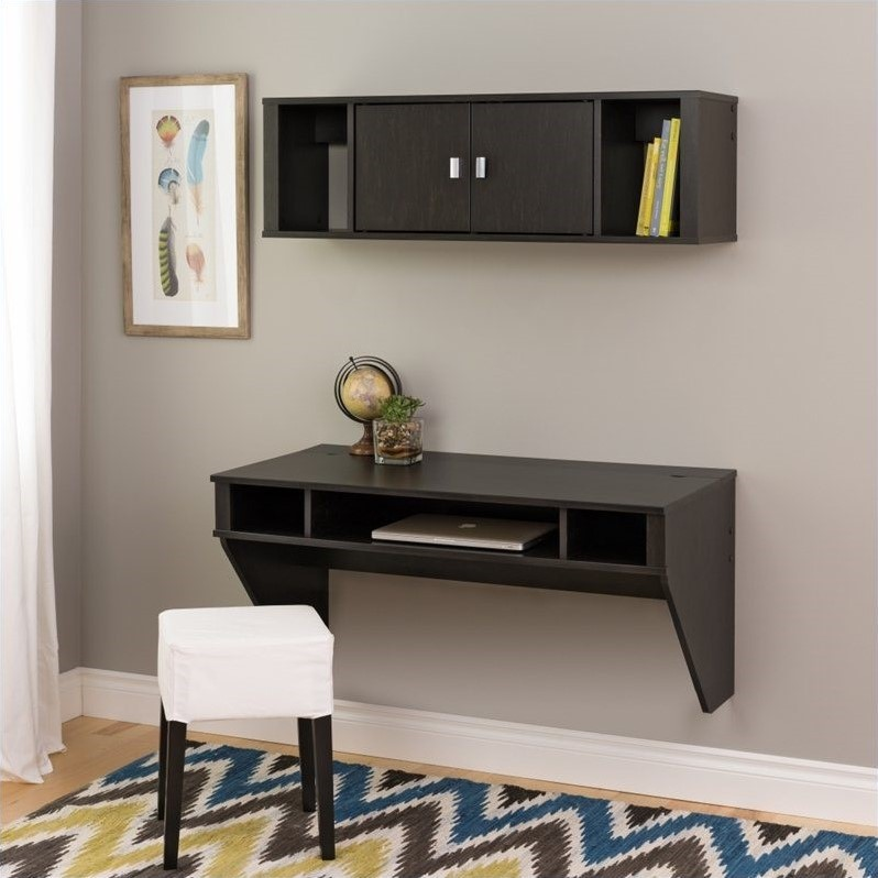 Bon Prepac Designer Floating Desk With Hutch In Washed Ebony Finish