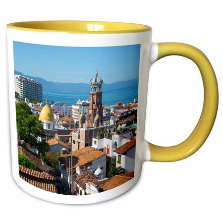 3dRose Puerto Vallarta, Jalisco, Mexico - SA13 DPB0824 - Douglas Peebles - Two Tone Yellow Mug, (Best Month To Go To Puerto Vallarta)