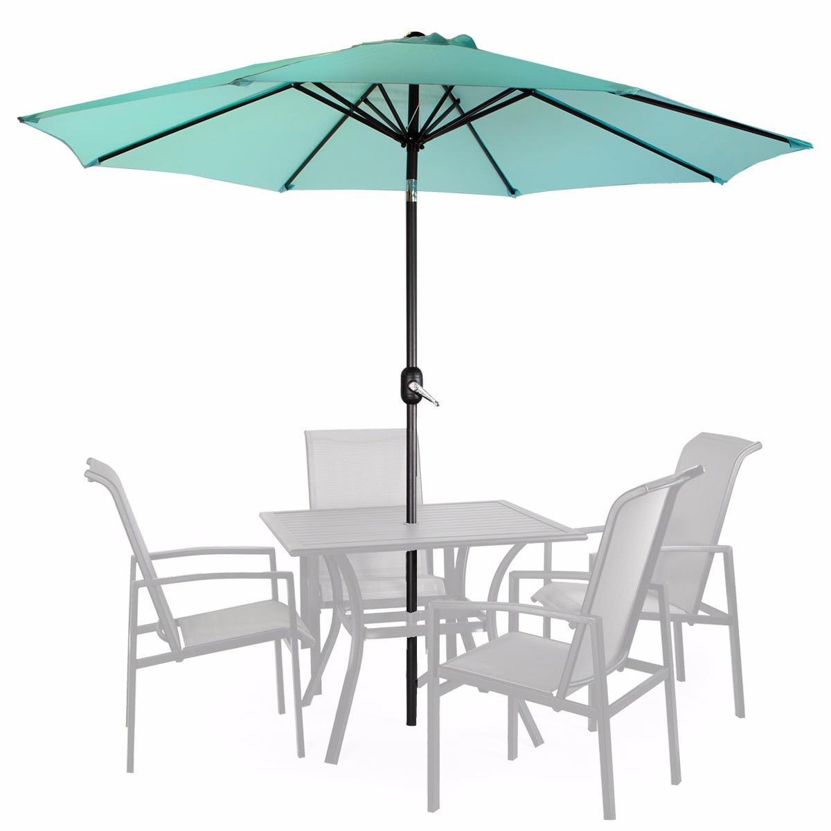 9' Patio Umbrella Round Sunshade Outdoor Canopy Tilt and Crank Aqua by