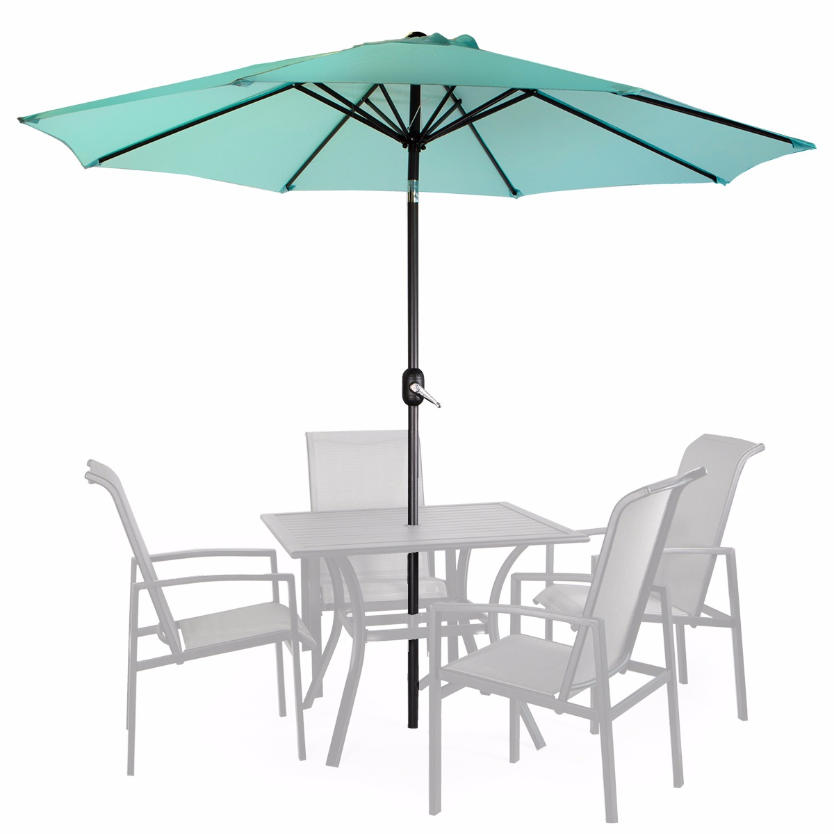 Product Image 9u0027 Patio Umbrella Round Sunshade Outdoor Canopy Tilt And  Crank   Aqua