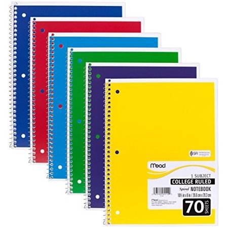 - Mead Spiral 1 Subject College Ruled Notebook 6 Pack, Assorted Colors (73065)
