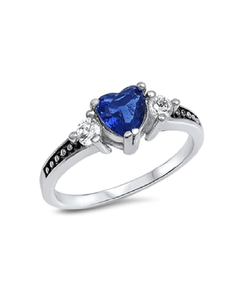 Heart Ring Sterling Silver 925 Jewelry Blue Sapphire CZ Face Height 6 mm Size 8