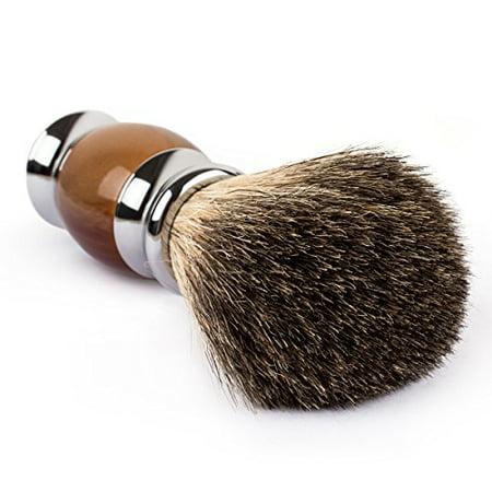 QSHAVE 100% Best Original Pure Badger Hair Shaving Brush Handmade. Faux Agate Handle. Perfect for Wet Shave, Safety Razor, Double Edge Razor - image 3 de 4