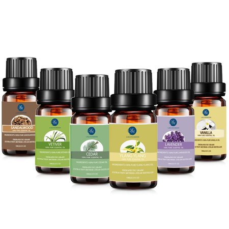 Lagunamoon Essential Oils Gift Set For Massage $ Relaxation, Top 6 Premium Therapeutic Aromatherapy Oil Kit Restful Blend,10ML Lavender Cedar Ylang Ylang Sandalwood Vanilla Vetiver Fragrance