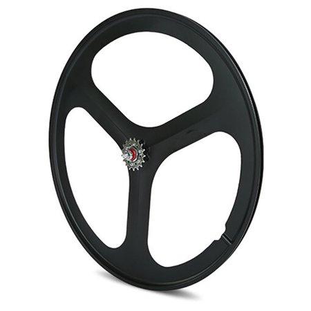Fixed Gear Bicycle Wheels - iMeshbean 700c Tri Spoke Fixie Fixed Gear Single Speed Bike Rear Mag Wheel Rim ( Black )