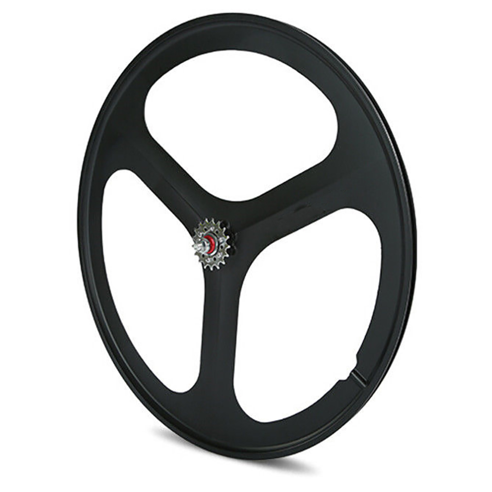 iMeshbean 700c Tri Spoke Fixie Fixed Gear Single Speed Bike Rear Mag Wheel Rim ( Black )
