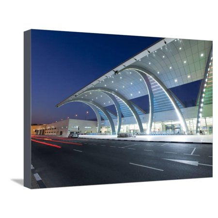 Stylish Modern Architecture of Terminal 3 Opened in 2010, Dubai International Airport Stretched Canvas Print Wall Art By Gavin Hellier