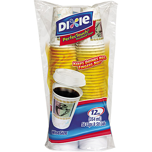 Dixie PerfecTouch Insulated Cups & Lids, 12 oz, 50 count