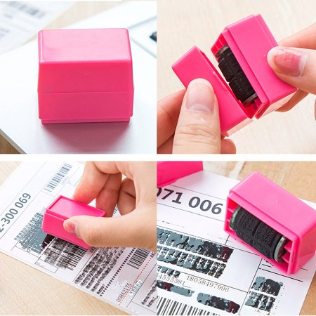 Hot Stamp Supply (iLH Mallroom Hot Sale 1Pc Guard Your ID Roller Stamp Self Inking Easy-used Messy Code Stamp Office Security)
