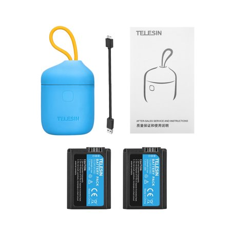 TELESIN Allin Box Waterproof NPFW50 Battery with 2pcs Batteries Portable Dual Channel Support Read SD Card for Sony NP-FW50 Battery Compatible for Sony Alpha A3000 A5000 A6000 A7S A7R NEX-3 NEX-3N N - image 1 of 7