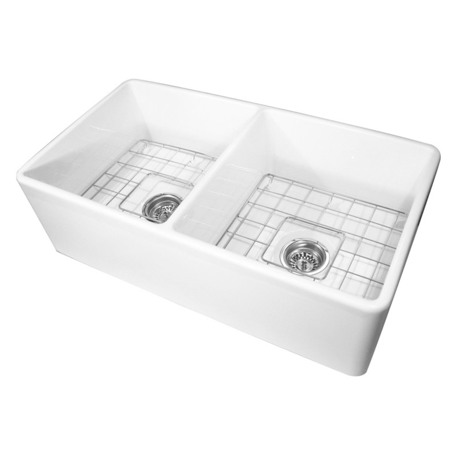 Nantucket Sinks T FCFS33 DBL 33 Double Basin Farmhouse Kitchen Sink With  Grids And Drains   Walmart.com