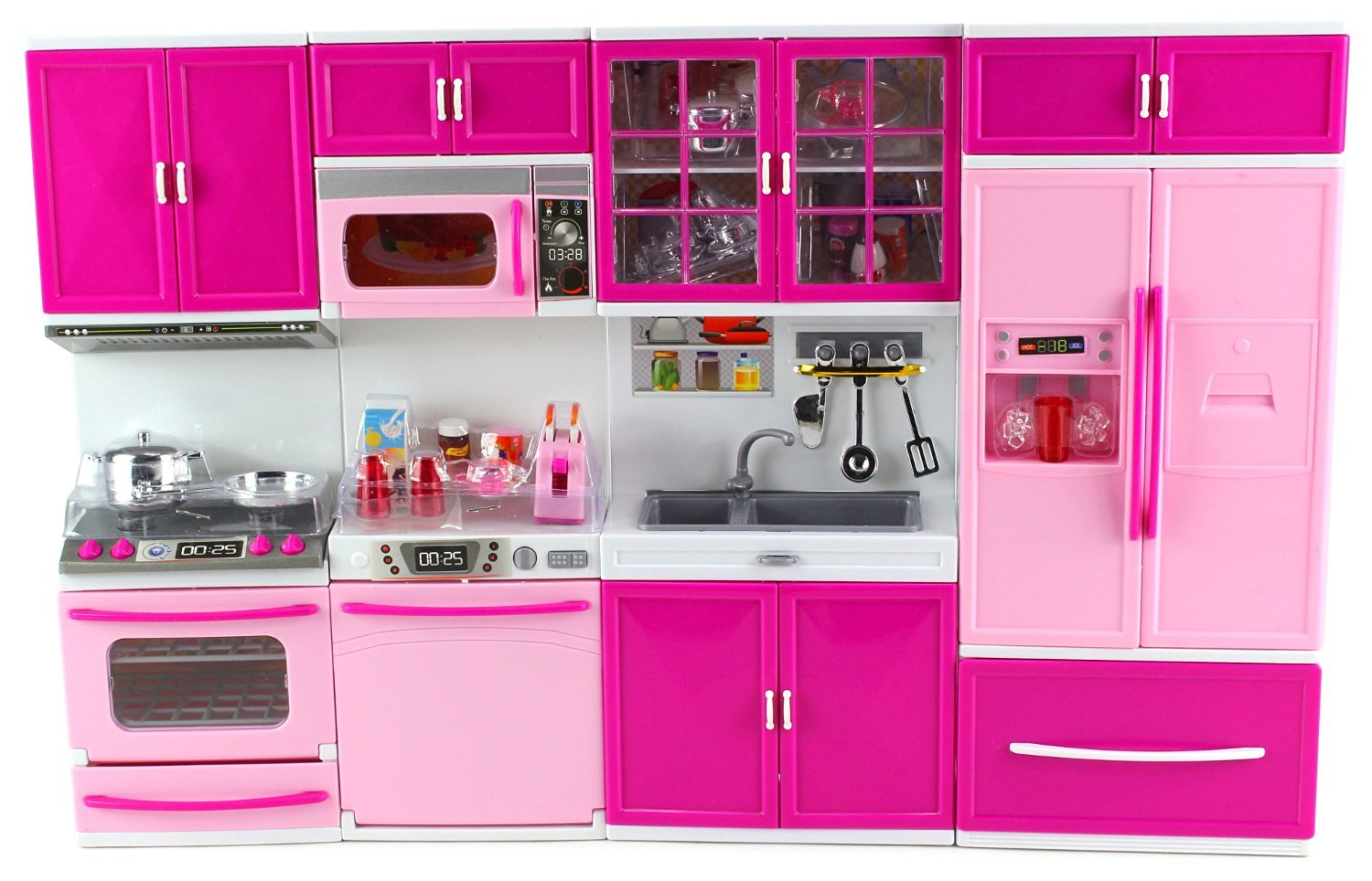 Click here to buy My Happy Kitchen Full Deluxe Kit Battery Operated Toy Doll Kitchen Playset w  Lights, Sounds, Perfect for Use... by Velocity Toys.