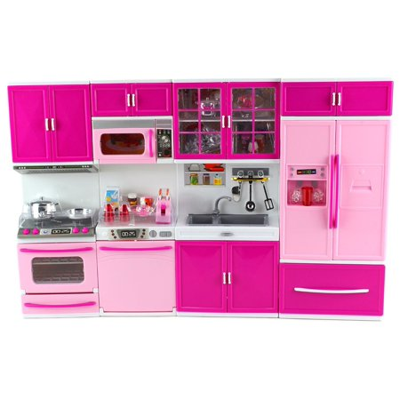 My Happy Kitchen Full Deluxe Kit Battery Operated Toy Doll Kitchen Playset w/ Lights, Sounds, Perfect for Use with 11-12