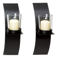 2x Black Metal Candle Holder Candle Stick Stand Wall Mounted Sconce with Glass Cup Home Decoration