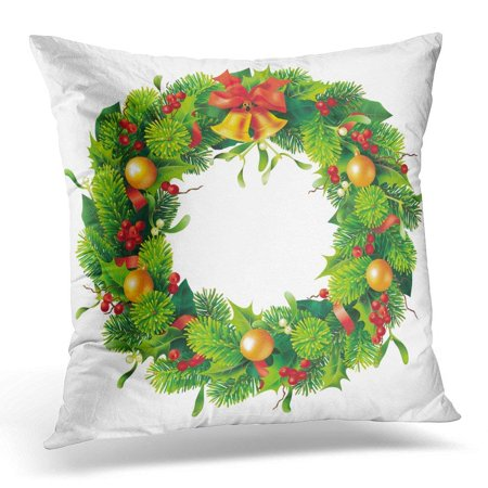 CMFUN Green Ring Christmas Round Wreath on White 10 Red Xmas Pillow Case Pillow Cover 20x20 inch