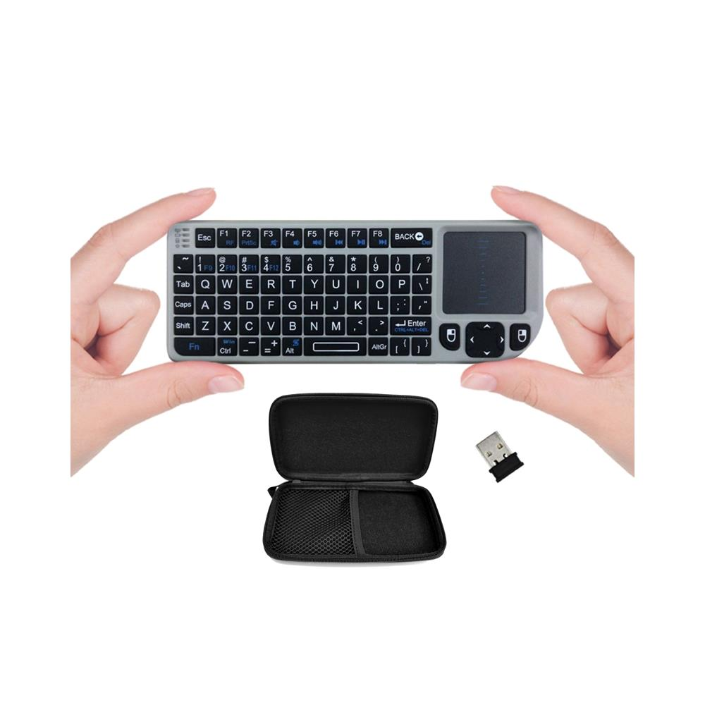 FAVI Wireless Mini Keyboard with Laser Pointer and Case -Silver (FE01-SL-C)