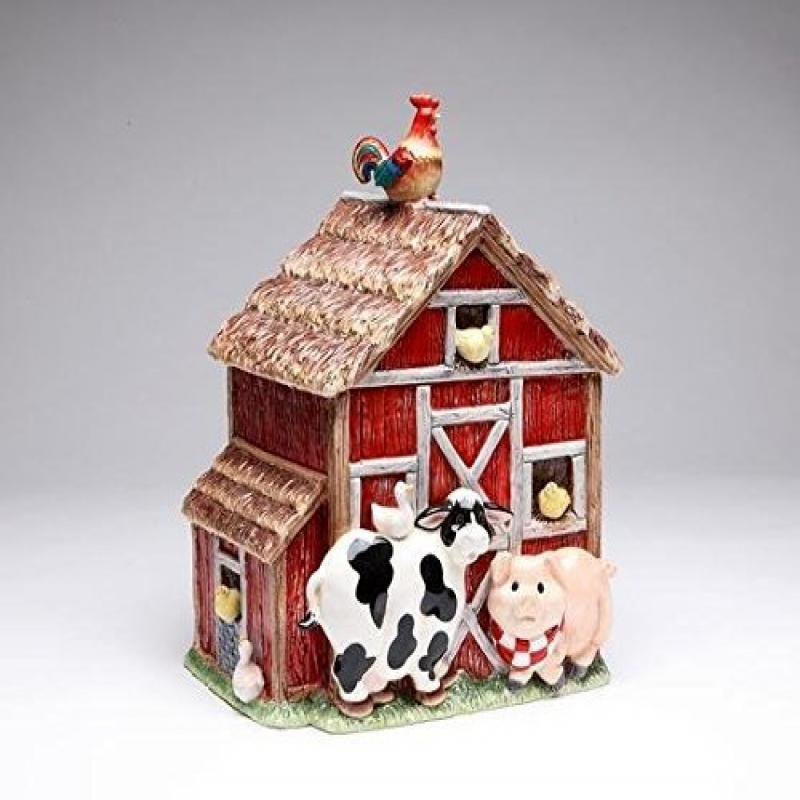 10.38 Inch Red and Brown Barn Cookie Jar with Farm Animals by Cosmos Gifts