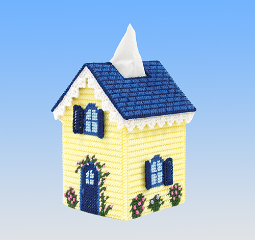 Mary Maxim Cottage Tissue Box Cover Plastic Canvas Kit