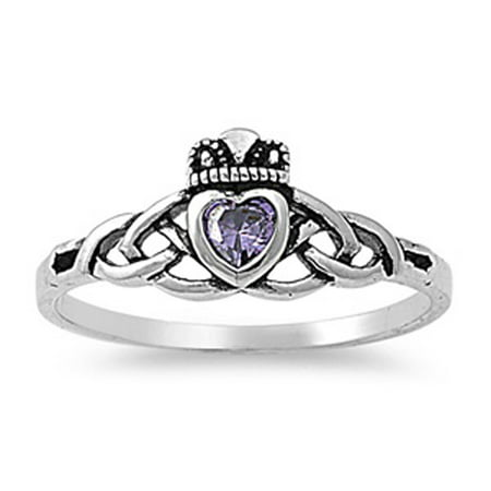Men Women Sterling Silver Oxidized Violet Purple Color CZ Celtic Claddagh Ring 8MM ( Size 3 to 10 )