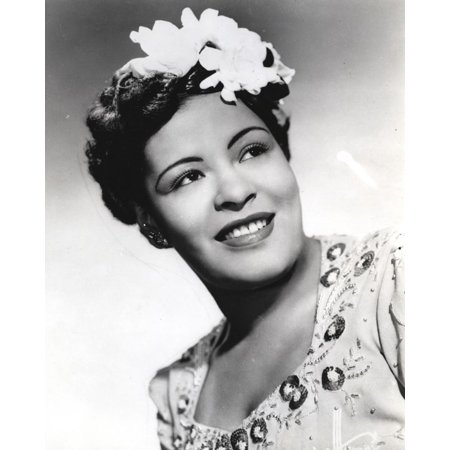 Smiling Close Up (Billie Holiday smiling Close Up Portrait with Floral Accessories Print Wall Art By Movie Star)